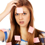 forgetful woman stickie notes